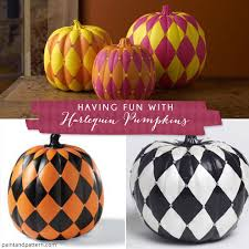 paint a pumpkin with harlequin stencil patterns