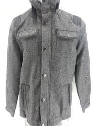 new men s g by guess wool blend faux leather trim zipper jacket winter coat l