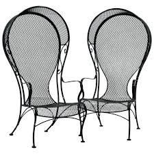pair of mid century regency wrought iron and mesh mesh patio furniture vinyl mesh outdoor furniture