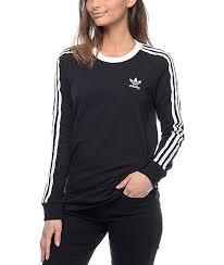 adidas long sleeve. adidas 3 stripe black long sleeve t-shirt
