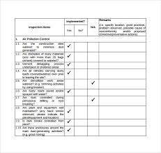 Sample Inspection Checklist Template