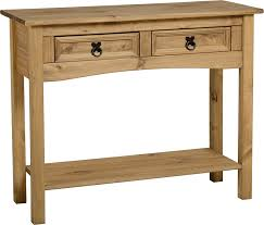 pine console table. Corona Mexican Pine Console Table With 2 Drawers And Shelf