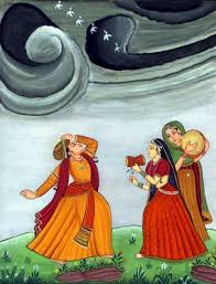 particularly noticeable in the kangra style this similarity in the pahari and rajasthani schools are two strains of the traditions of indian paintings