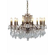 12 branch crystal chandelier bronze