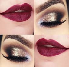 eyes and lips makeup with red dress