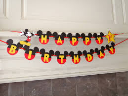Mickey Mouse Happy Birthday Banner with Yellow Letters Age