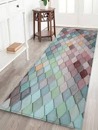 colorful geometric pattern tile water absorption area rug baby blue w24 x l71 inch