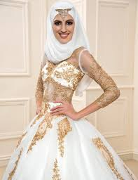 Aliexpress Com Buy Gold Lace Muslim Wedding Dresses With Sleeves