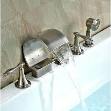 deck mount tub faucet with shower diverter tub spout with handheld shower deck mount brushed bathtub