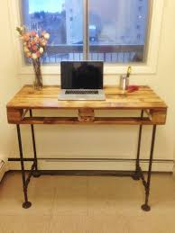 diy pallet iron pipe. Pallet Stand-up Desk With Steel Pipe Legs Diy Iron