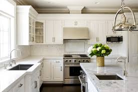 Traditional Transitional Kitchen Marble Countertop White Cabinets