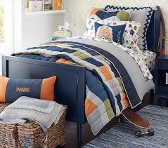 denim color block patchwork quilted bedding