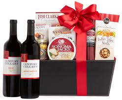 supplemental gift image century cellars duet red wine gift basket