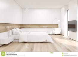 Seitenansicht Des Schlafzimmers Mit Fernseher Stock Abbildung
