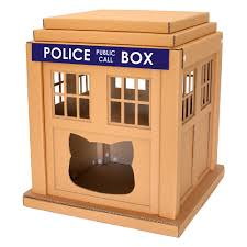 astounding design of the cardboard cat house with brown color idas added with police box words cat safe furniture
