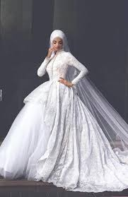 long sleeve muslim wedding dress 2016 lace robe de mariage islamic