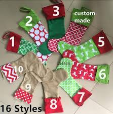16 designs embroidered personalized stocking canvas cotton xmas tree ornament decoration for children candy gifts bag clearance