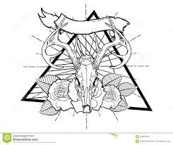 олень Bones эскиз винтажной нео традиционной татуировки черно белый