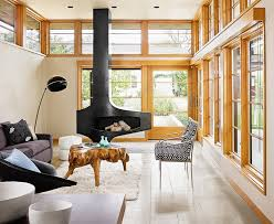 gorgeous muskoka fireplace in living room scandinavian with wood trim next to fireplace surround alongside furniture arrangement