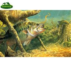 5d diy diamond painting bass fishing lake big fish animals embroidery full square diamond cross stitch