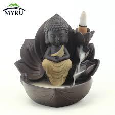 Zen Meditation <b>Lotus Flower Backflow Incense</b> Burner Creative ...