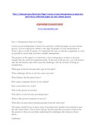 Part 1 Entrepreneur Interview Paper Locate A Local Entrepreneur To In