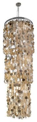round king size chandelier with round capiz seas gold hue
