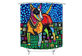 dog shower curtain bull terrier shower curtain dog shower curtain dog bathroom decor gift by
