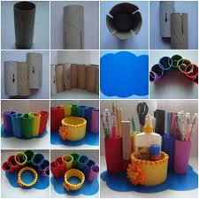 diy desk organizer tutorial. Unique Desk DIY Recycled Paper Roll Rainbow Desk Organizer Tutorial On Diy Desk Organizer Tutorial E