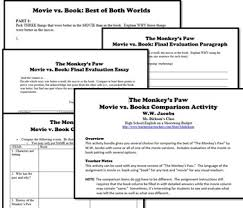 the monkey s paw movie vs books activity w w jacobs by msdickson books activity w w jacobs