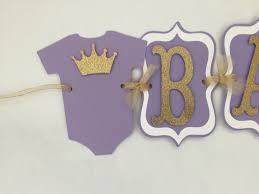 Lavender Baby Shower Decorations Princess Baby Shower Banner In Lavender And Gold Purple And Gold