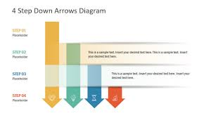 Down Arrow Chart 4 Step Down Arrows Powerpoint Template