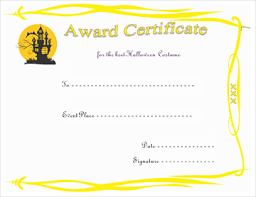 Costume Contest Certificate Template Haunted House Award Certificate Template Gct