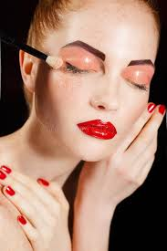 beautiful fashion s face makeup make up and manicure nail polish