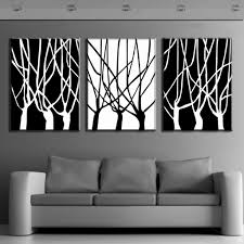 3 pcs set framed abstract trees painting printed on canvas home decor simple black and white branches wall printing in painting calligraphy from home  on autumn tree set of 3 framed wall art white brown with 3 pcs set framed abstract trees painting printed on canvas home