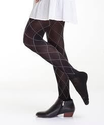 Bootights Jet Black Cream Argyle Hailey Sock Tights Women
