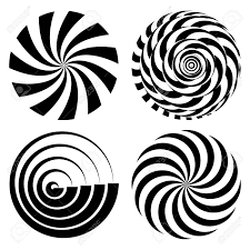 Radial Spiral Rays Set Vector Psychedelic Illustration Twisted