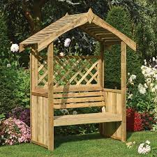 garden arbour with twin seat