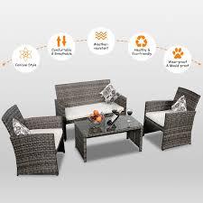 costway 4 pc rattan patio furniture set garden lawn sofa cushioned seat mix gray wicker free today 22217259
