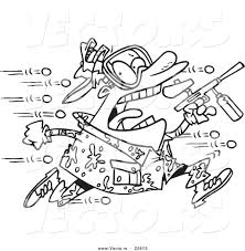 Small Picture Vector of a Cartoon Man Being Hit with Paintballs Coloring Page
