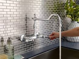 Small Picture Mdura Double Handle Wall Mount Kitchen Faucet With Spout Fie Wall