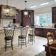 L Kitchen Mahogany Cabinets I Like The Dark Wood Lighter Walls And  Floors Lanterns Above Island Are Pretty