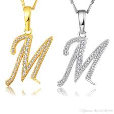 whole capital initial m letter necklace for women silver gold color alphabet pendant chain name jewelry gift for her circle pendant necklace key