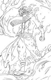 Fairy Tail Natsu Dragneel Coloring Pages Lineart Fairy Tail