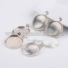 diy necklace pendant making alloy pendant cabochon settings and clear circle domed glass cabochon cover antique silver pendant 41x32x4mm hole 4mm
