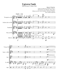 Uptown Funk Sax Brass Quartet Sheet Music For Trumpet