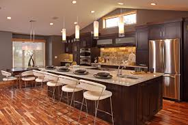 Beautiful Open Kitchen Design Dark Mahogany Wood Kitchen Cabinet