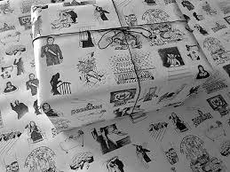 horror clics on white gothic wrapping paper 1 roll of black and white handmade