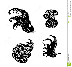 Wave Tattoo Design Isolate Vector Stock Vector Illustration Of