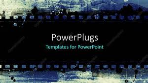 Movie Powerpoint Template Powerpoint Template A Strip Of Black Film On A Blue Colored